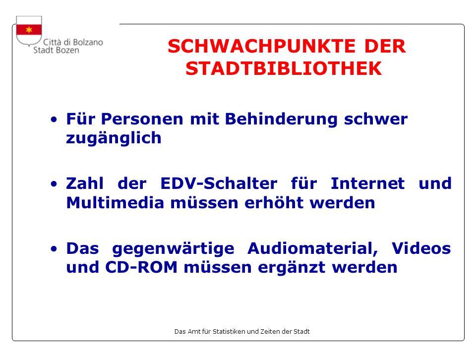 Das Amt für Statistiken und Zeiten der Stadt Für Personen mit Behinderung schwer zugänglich Zahl der EDV-Schalter für Internet und Multimedia müssen erhöht werden Das gegenwärtige Audiomaterial, Videos und CD-ROM müssen ergänzt werden SCHWACHPUNKTE DER STADTBIBLIOTHEK