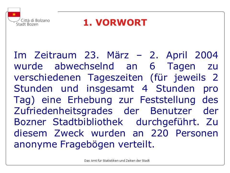 Das Amt für Statistiken und Zeiten der Stadt 1. VORWORT Im Zeitraum 23.