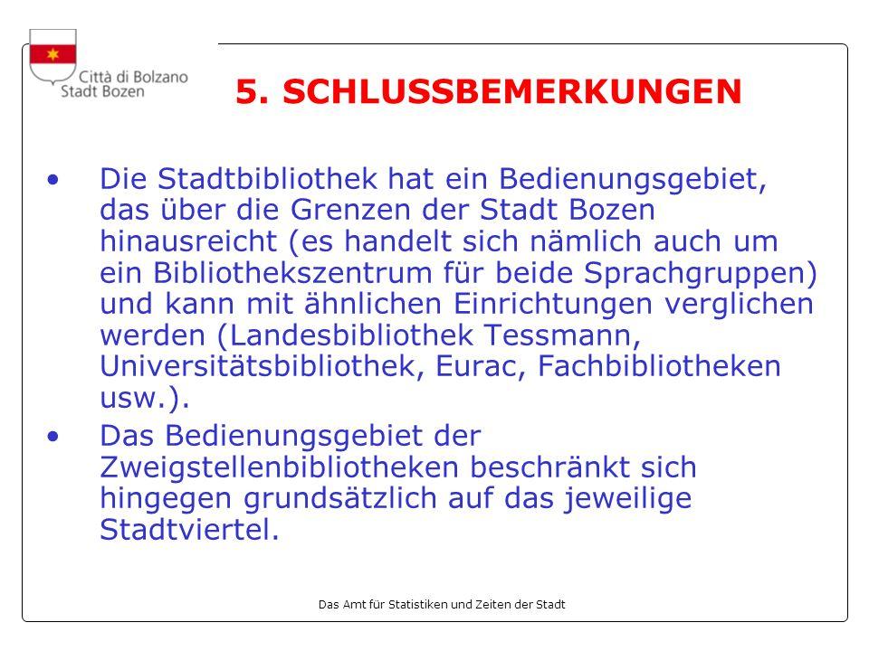 Das Amt für Statistiken und Zeiten der Stadt Die Stadtbibliothek hat ein Bedienungsgebiet, das über die Grenzen der Stadt Bozen hinausreicht (es handelt sich nämlich auch um ein Bibliothekszentrum für beide Sprachgruppen) und kann mit ähnlichen Einrichtungen verglichen werden (Landesbibliothek Tessmann, Universitätsbibliothek, Eurac, Fachbibliotheken usw.).