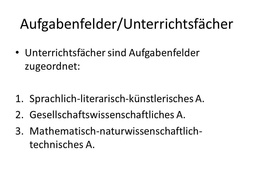 Aufgabenfelder/Unterrichtsfächer Unterrichtsfächer sind Aufgabenfelder zugeordnet: 1.Sprachlich-literarisch-künstlerisches A.