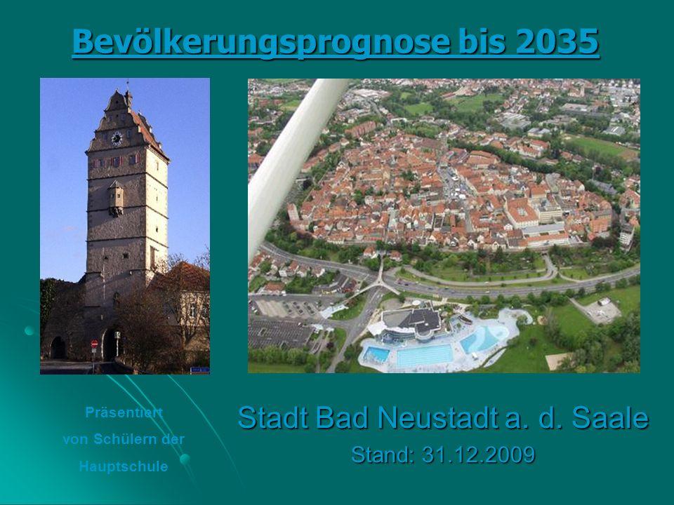 Vergleich 2009: Ist-Werte / Plan-Werte 2009 wohnten in Bad Neustadt 15.324 Personen, prognostiziert waren 15.313 Personen.