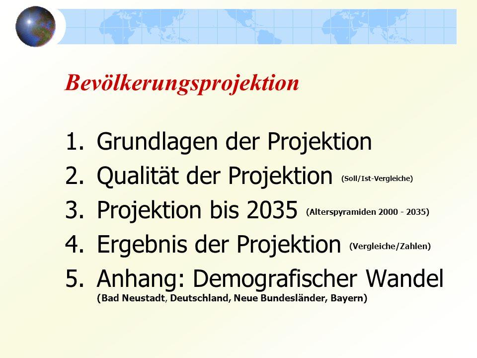 Bevölkerungsprojektion 1.Grundlagen der Projektion 2.Qualität der Projektion (Soll/Ist-Vergleiche) 3.Projektion bis 2035 (Alterspyramiden 2000 - 2035) 4.Ergebnis der Projektion (Vergleiche/Zahlen) 5.Anhang: Demografischer Wandel (Bad Neustadt, Deutschland, Neue Bundesländer, Bayern)