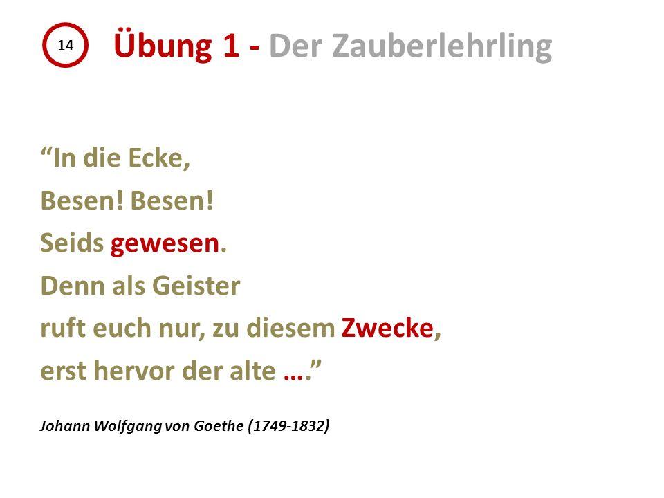 In die Ecke, Besen! Seids gewesen. Denn als Geister ruft euch nur, zu diesem Zwecke, erst hervor der alte …. Johann Wolfgang von Goethe (1749-1832) 14