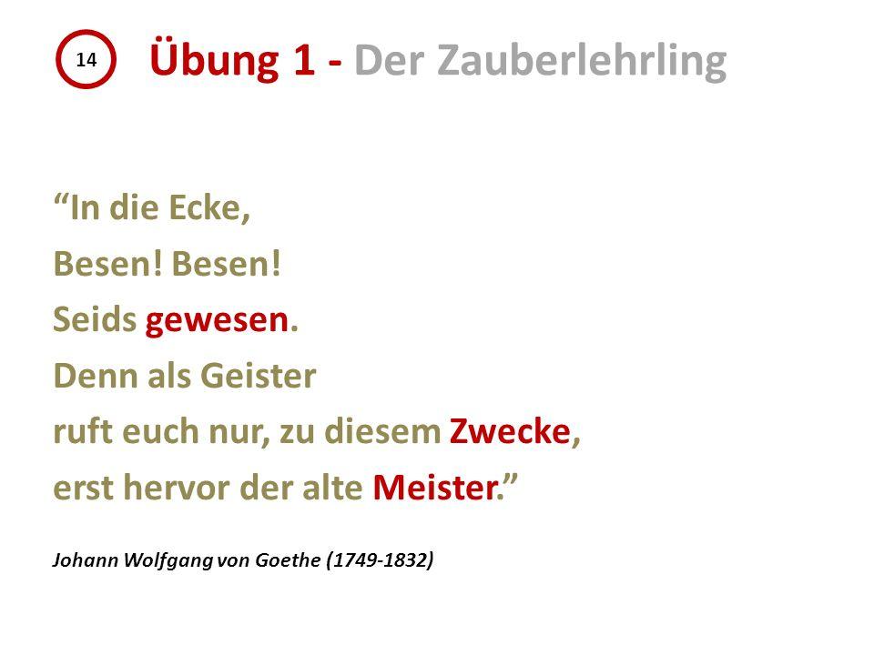 In die Ecke, Besen! Seids gewesen. Denn als Geister ruft euch nur, zu diesem Zwecke, erst hervor der alte Meister. Johann Wolfgang von Goethe (1749-18