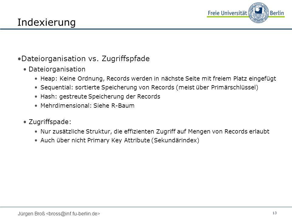 13 Jürgen Broß Indexierung Dateiorganisation vs.