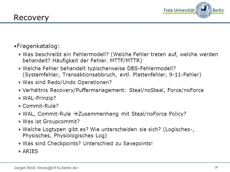 28 Jürgen Broß Recovery Fragenkatalog: Was beschreibt ein Fehlermodell.
