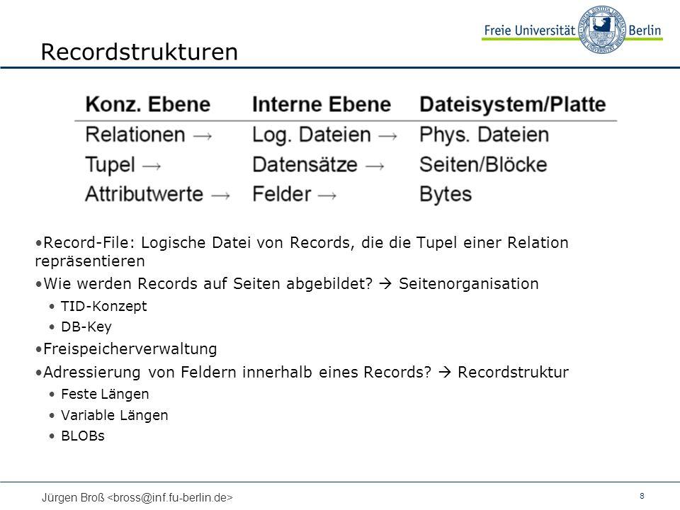 8 Jürgen Broß Recordstrukturen Record-File: Logische Datei von Records, die die Tupel einer Relation repräsentieren Wie werden Records auf Seiten abgebildet.
