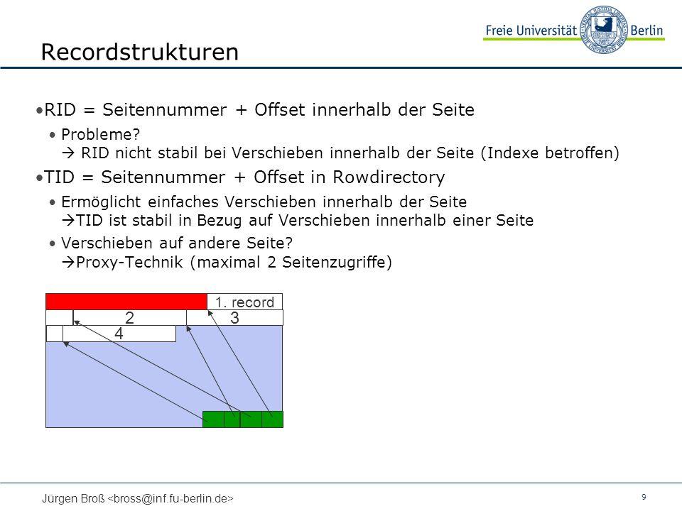 9 Jürgen Broß Recordstrukturen RID = Seitennummer + Offset innerhalb der Seite Probleme.