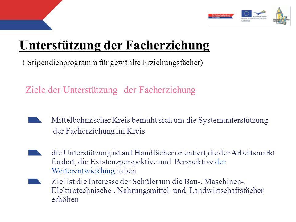 Ziele der Unterstützung der Facherziehung Mittelböhmischer Kreis bemüht sich um die Systemunterstützung der Facherziehung im Kreis die Unterstützung i