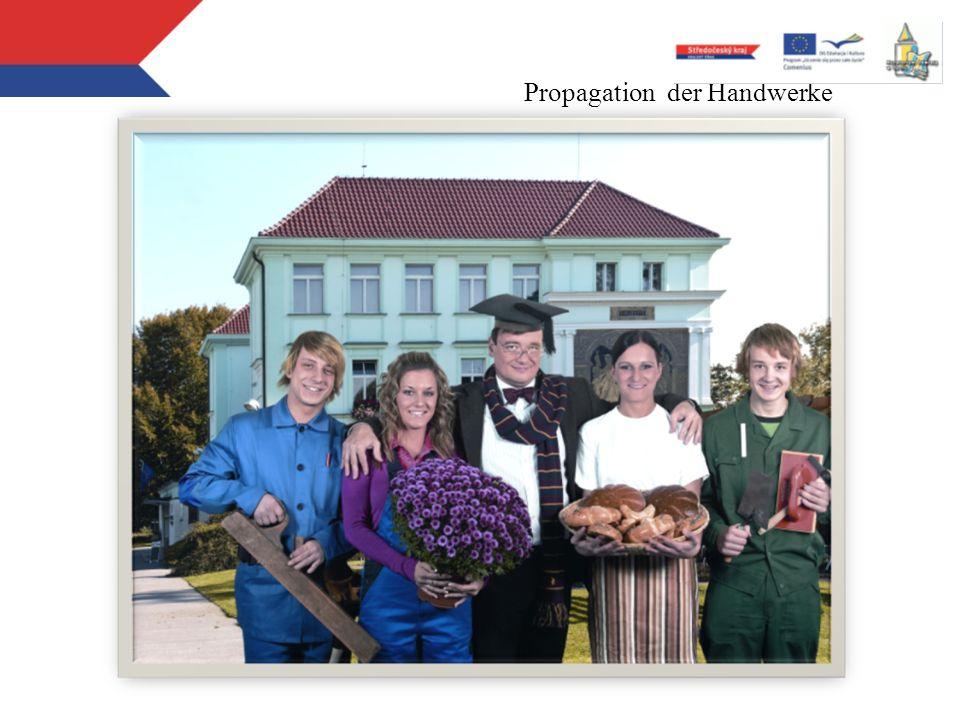 Stipendijní program - 2010/2011 31 oborů vzdělání 36 škol (nevztahuje se na soukromé školy) 1021 žáků (letos pouze 1. ročníky) Propagation der Handwer