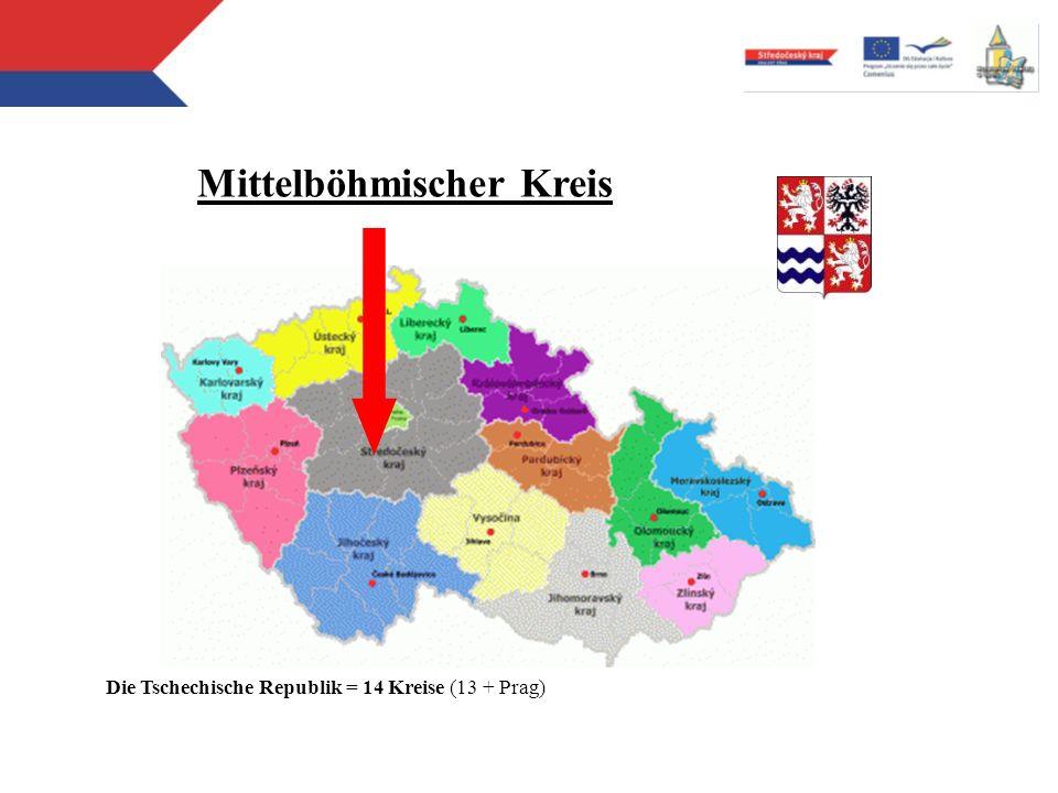 Mittlere Schulen errichtete vom Mittelböhmischen Kreis 108 Schulen im Jahre 2011 (im Jahre 2001: 120 Schulen) 29 Gymnasien (8-, 6- und 4-jährige Erziehungsprogramme: Vorbereitung für die Hochschulen) 40 mittlere Fachschulen (vierjährige Erziehungsprogramme ) 35 andere Mittelschulen (Fachschulen und Berufsschulen, integrierte Mittelschulen: 4-, 3- und 2-jährige Erziehungsprogramme ) 4 mittlere Lehranstalten (3- und 2-jährige Erziehungsprogramme : kleinere Ansprüchigkeit - Hilfsarbeiten)