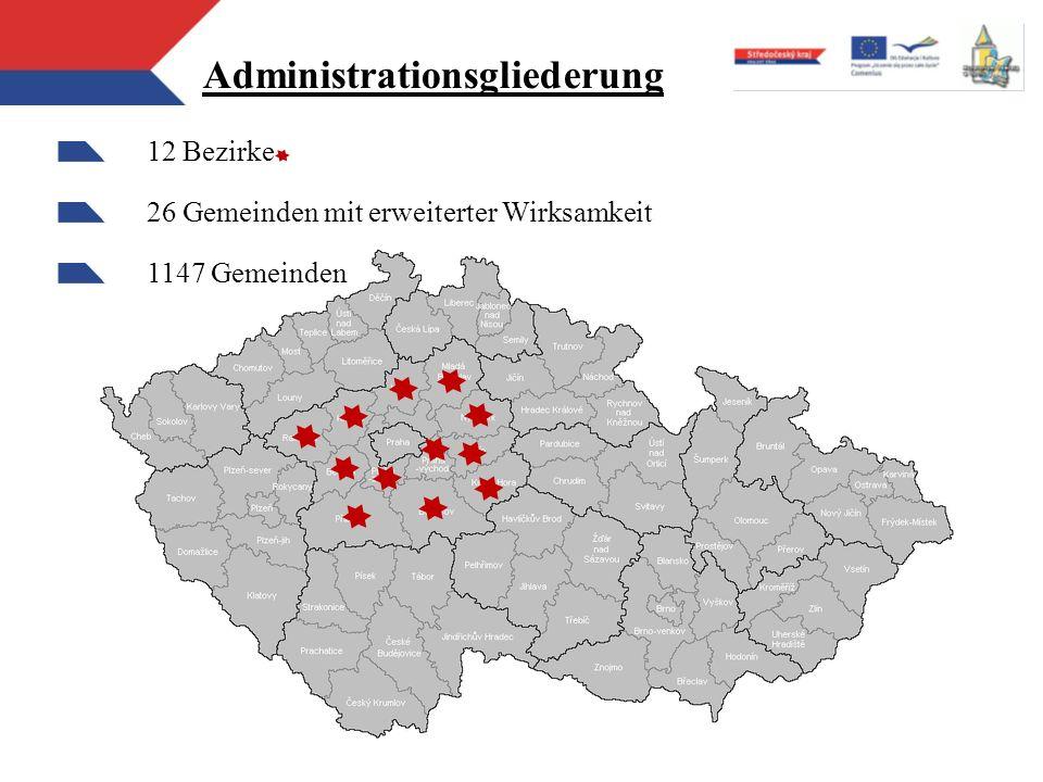 Administrationsgliederung 12 Bezirke 26 Gemeinden mit erweiterter Wirksamkeit 1147 Gemeinden