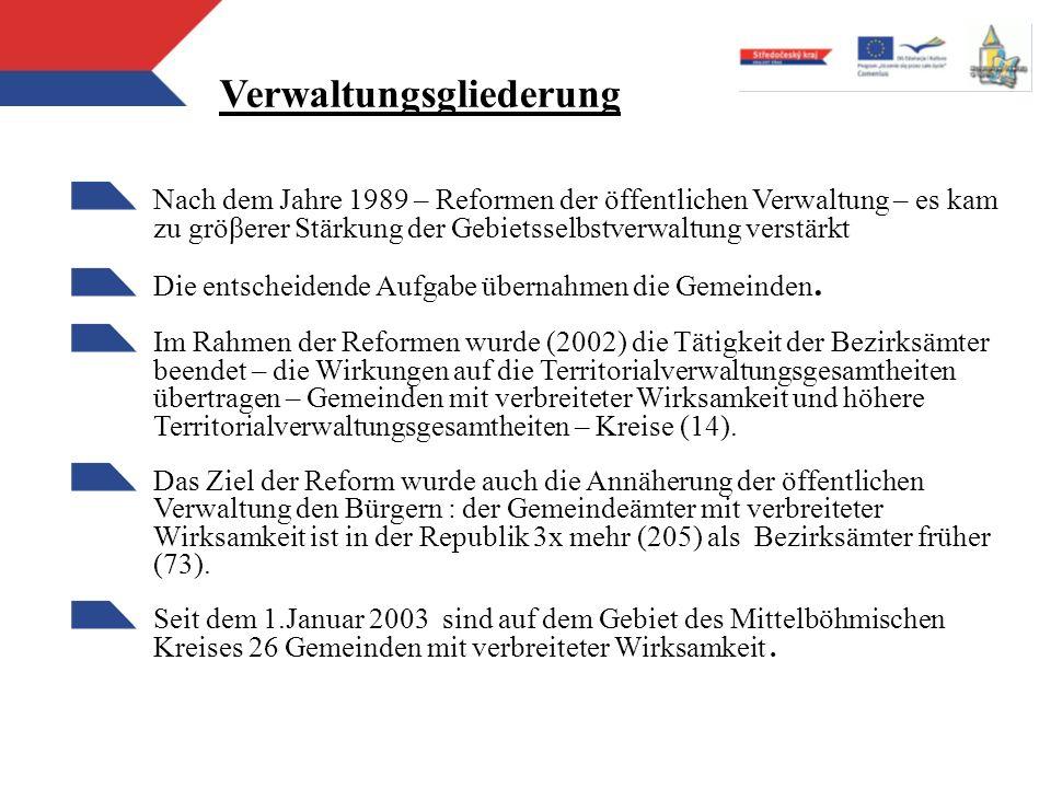 Verwaltungsgliederung Nach dem Jahre 1989 – Reformen der öffentlichen Verwaltung – es kam zu gröβerer Stärkung der Gebietsselbstverwaltung verstärkt D
