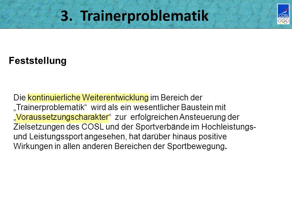 3. Trainerproblematik Feststellung Die kontinuierliche Weiterentwicklung im Bereich der Trainerproblematik wird als ein wesentlicher Baustein mit Vora