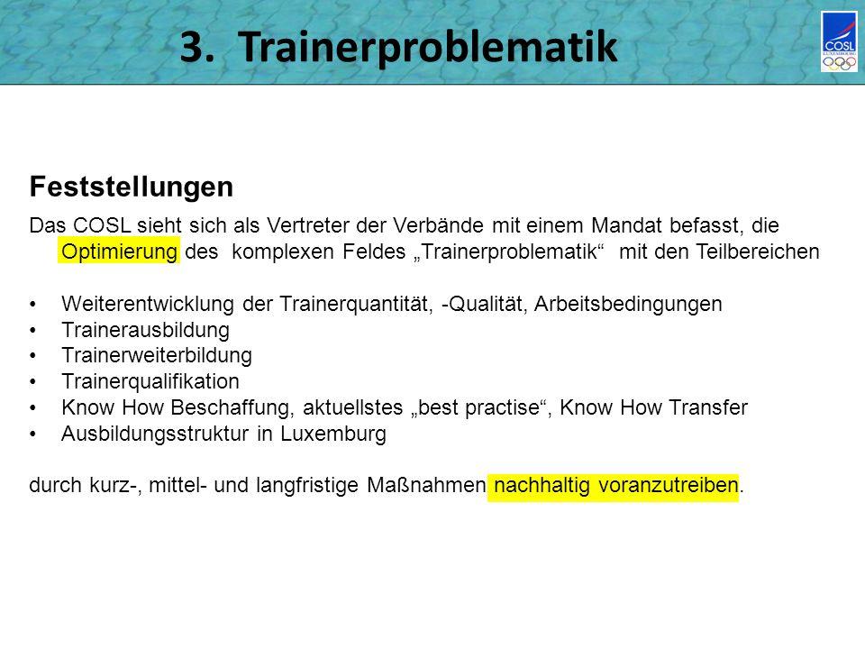 3. Trainerproblematik Feststellungen Das COSL sieht sich als Vertreter der Verbände mit einem Mandat befasst, die Optimierung des komplexen Feldes Tra