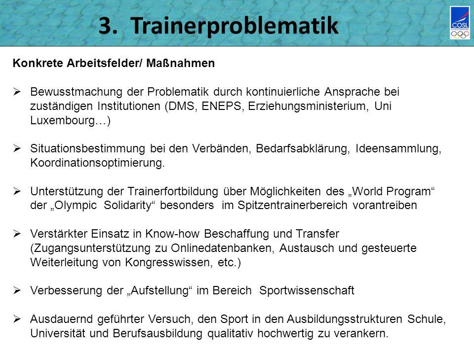 3. Trainerproblematik Konkrete Arbeitsfelder/ Maßnahmen Bewusstmachung der Problematik durch kontinuierliche Ansprache bei zuständigen Institutionen (