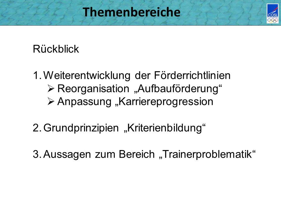Themenbereiche Rückblick 1.Weiterentwicklung der Förderrichtlinien Reorganisation Aufbauförderung Anpassung Karriereprogression 2.Grundprinzipien Krit