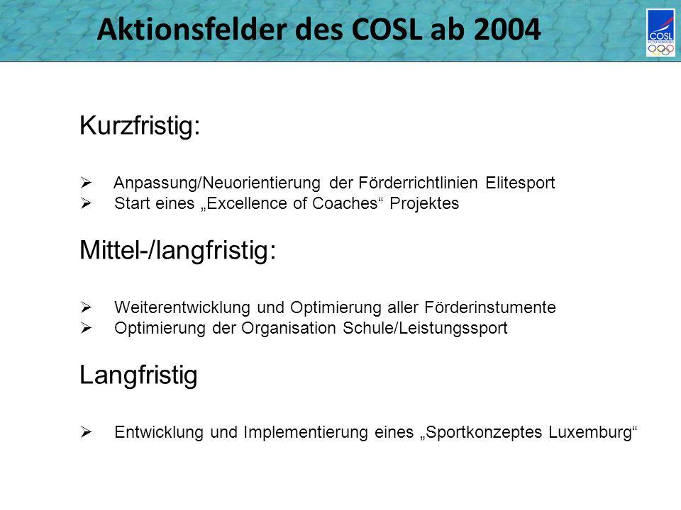 Aktionsfelder des COSL ab 2004 Kurzfristig: Anpassung/Neuorientierung der Förderrichtlinien Elitesport Start eines Excellence of Coaches Projektes Mit