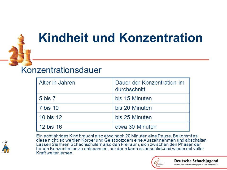 Kindheit und Konzentration Konzentrationsdauer Ein achtjähriges Kind braucht also etwa nach 20 Minuten eine Pause. Bekommt es diese nicht, so werden K