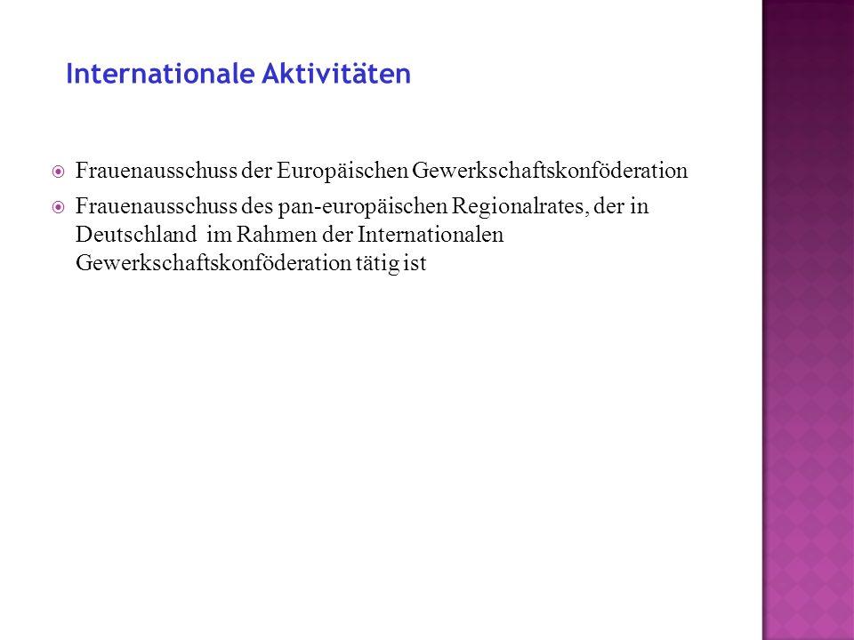 Frauenausschuss der Europäischen Gewerkschaftskonföderation Frauenausschuss des pan-europäischen Regionalrates, der in Deutschland im Rahmen der Internationalen Gewerkschaftskonföderation tätig ist Internationale Aktivitäten