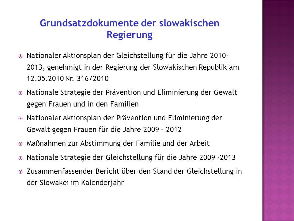 Nationaler Aktionsplan der Gleichstellung für die Jahre 2010- 2013, genehmigt in der Regierung der Slowakischen Republik am 12.05.2010 Nr.