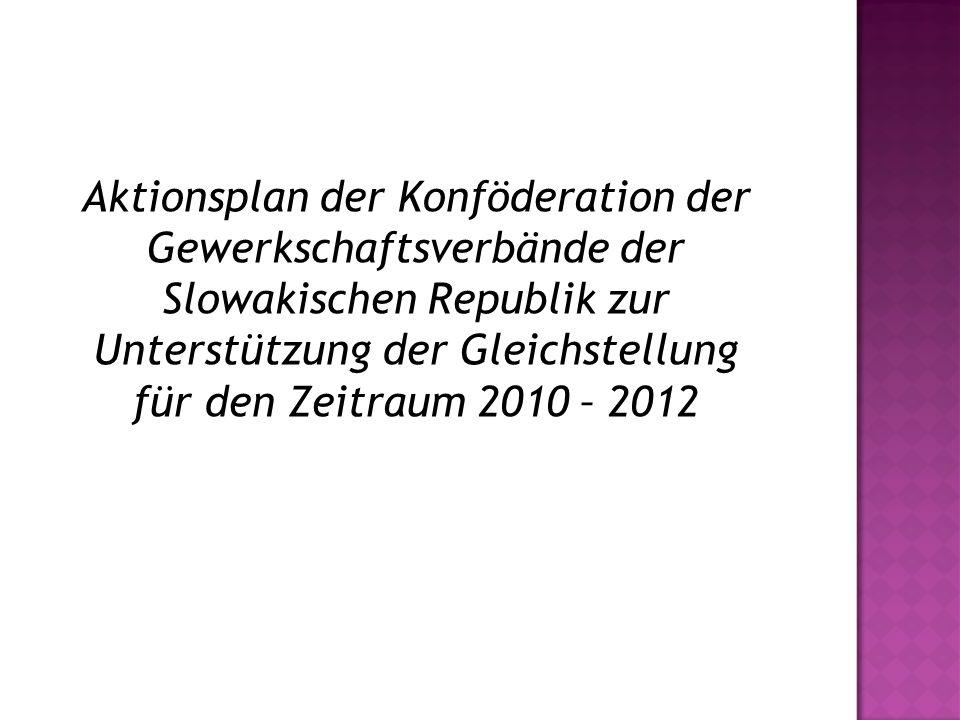 Aktionsplan der Konföderation der Gewerkschaftsverbände der Slowakischen Republik zur Unterstützung der Gleichstellung für den Zeitraum 2010 – 2012