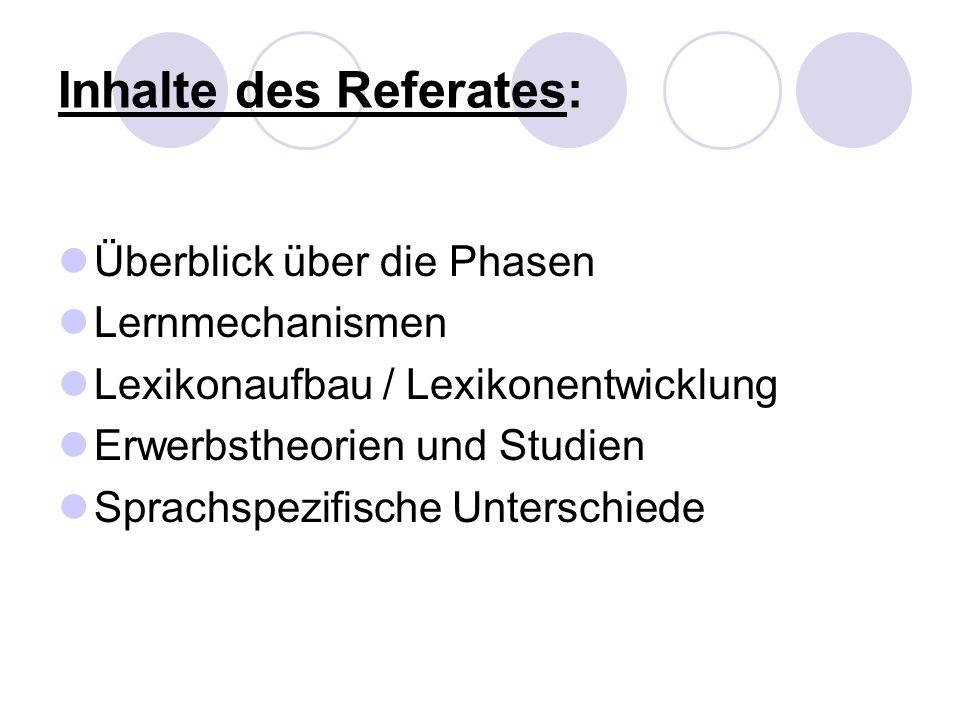 Inhalte des Referates: Überblick über die Phasen Lernmechanismen Lexikonaufbau / Lexikonentwicklung Erwerbstheorien und Studien Sprachspezifische Unte