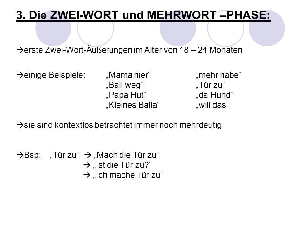 3. Die ZWEI-WORT und MEHRWORT –PHASE: erste Zwei-Wort-Äußerungen im Alter von 18 – 24 Monaten einige Beispiele: Mama hiermehr habe Ball wegTür zu Papa