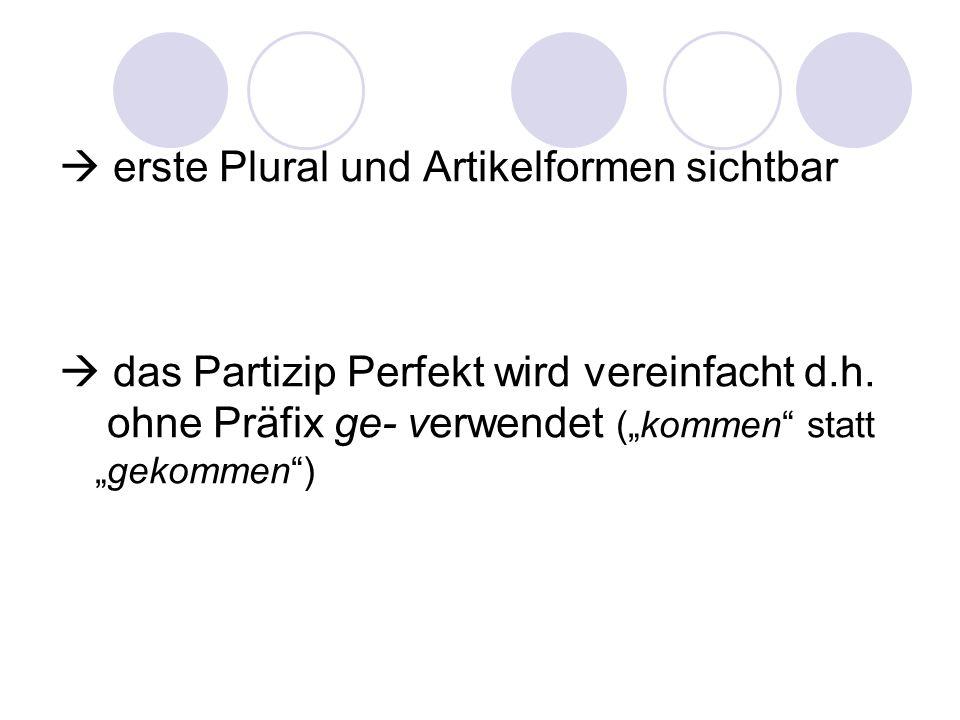 erste Plural und Artikelformen sichtbar das Partizip Perfekt wird vereinfacht d.h. ohne Präfix ge- verwendet (kommen statt gekommen)