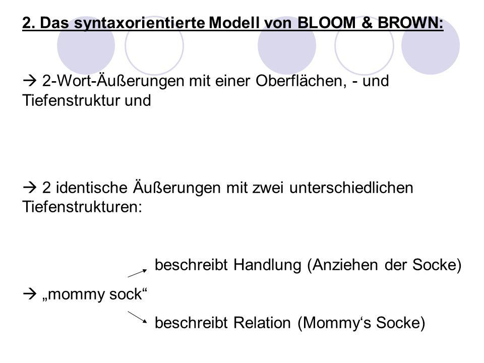 2. Das syntaxorientierte Modell von BLOOM & BROWN: 2-Wort-Äußerungen mit einer Oberflächen, - und Tiefenstruktur und 2 identische Äußerungen mit zwei