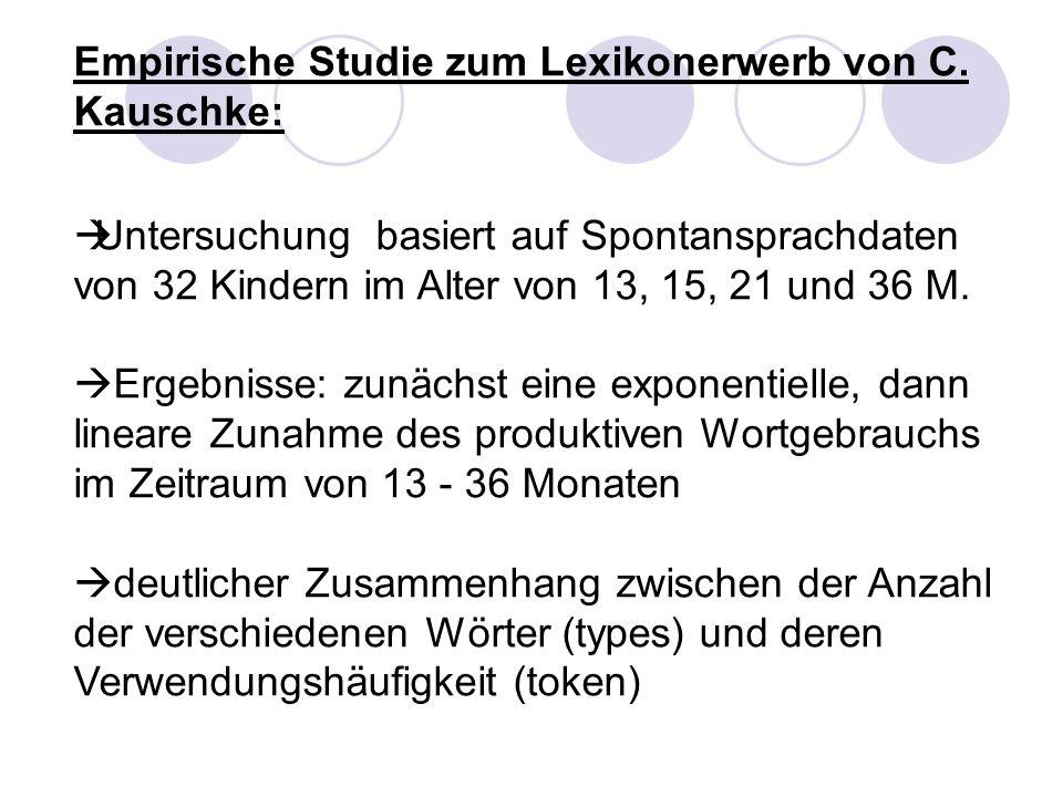 Empirische Studie zum Lexikonerwerb von C. Kauschke: Untersuchung basiert auf Spontansprachdaten von 32 Kindern im Alter von 13, 15, 21 und 36 M. Erge