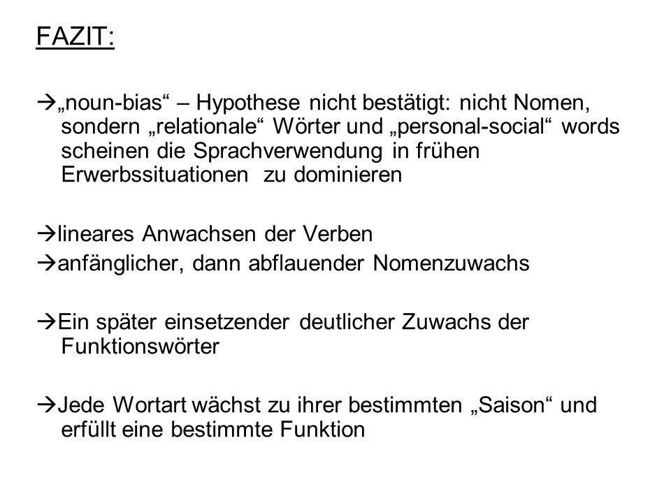 FAZIT: noun-bias – Hypothese nicht bestätigt: nicht Nomen, sondern relationale Wörter und personal-social words scheinen die Sprachverwendung in frühe