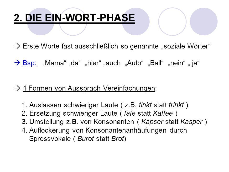 2. DIE EIN-WORT-PHASE Erste Worte fast ausschließlich so genannte soziale Wörter Bsp: Mama da hier auch Auto Ball nein ja 4 Formen von Aussprach-Verei