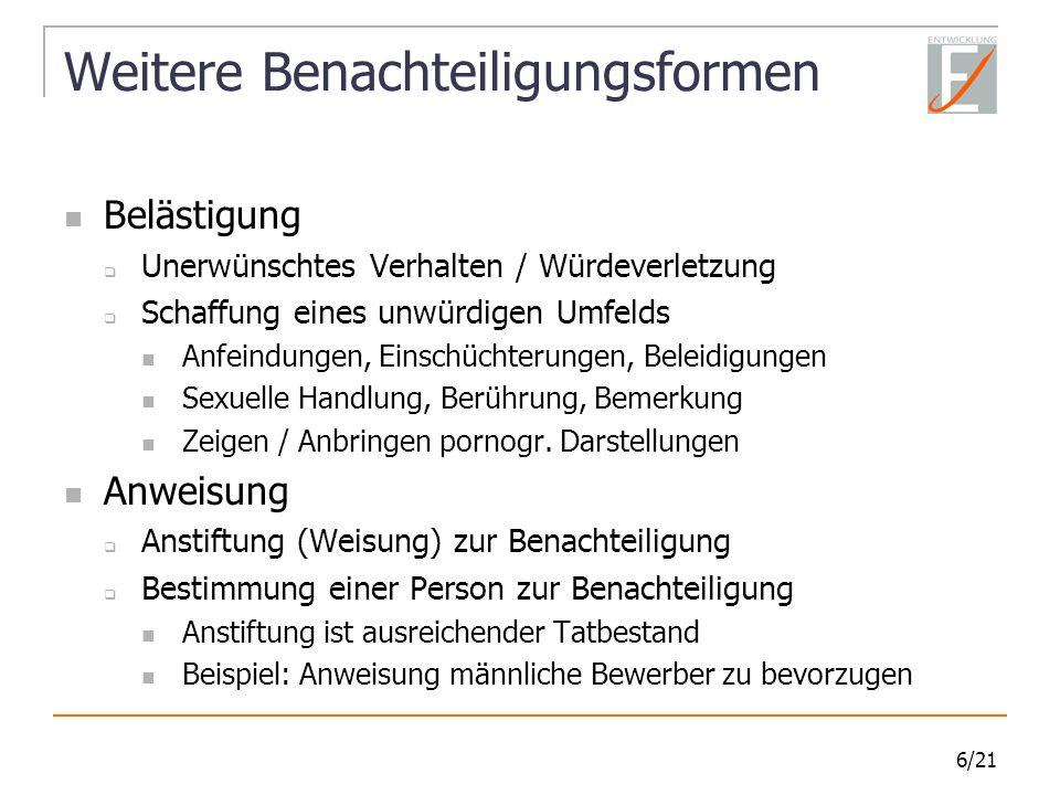 17/21 Typische Fehler - Stellenanzeigen Keine Unterscheidung nach Rasse, Geschlecht, […] Behinderung, Alter […] Handelsvertreter Vertrieb Kundenrabattkarte bundesweit bieten Nebenjob f.