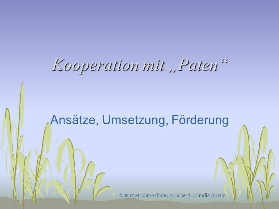 Kooperation mit Paten Ansätze, Umsetzung, Förderung © Ruth-Cohn-Schule, Arnsberg, Claudia Brozio