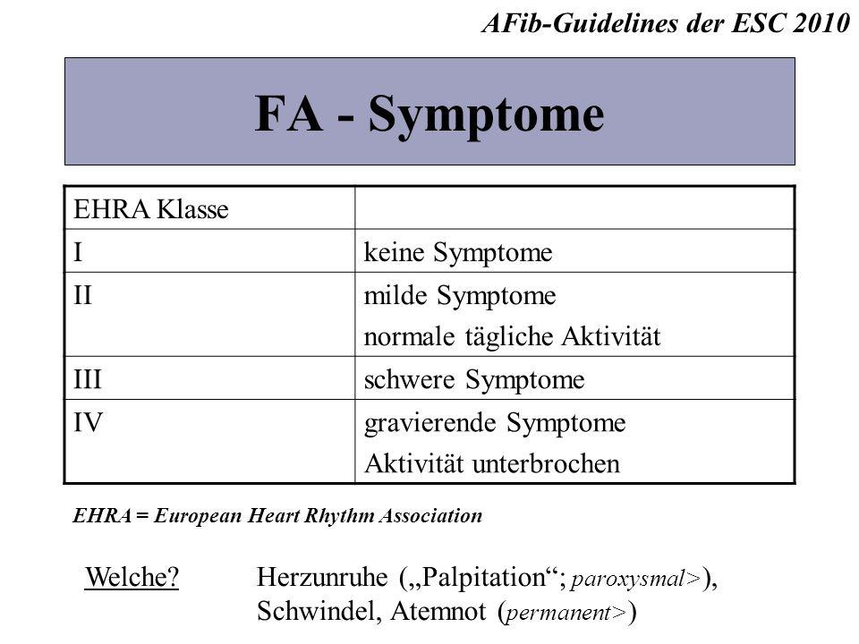 FA - Symptome EHRA Klasse Ikeine Symptome IImilde Symptome normale tägliche Aktivität IIIschwere Symptome IVgravierende Symptome Aktivität unterbroche