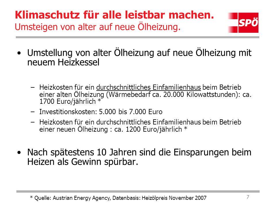 8 Umstellung von alter Ölheizung auf neue Pellets- Heizung –Heizkosten für ein durchschnittliches Einfamilienhaus beim Betrieb einer alten Ölheizung (Wärmebedarf ca.