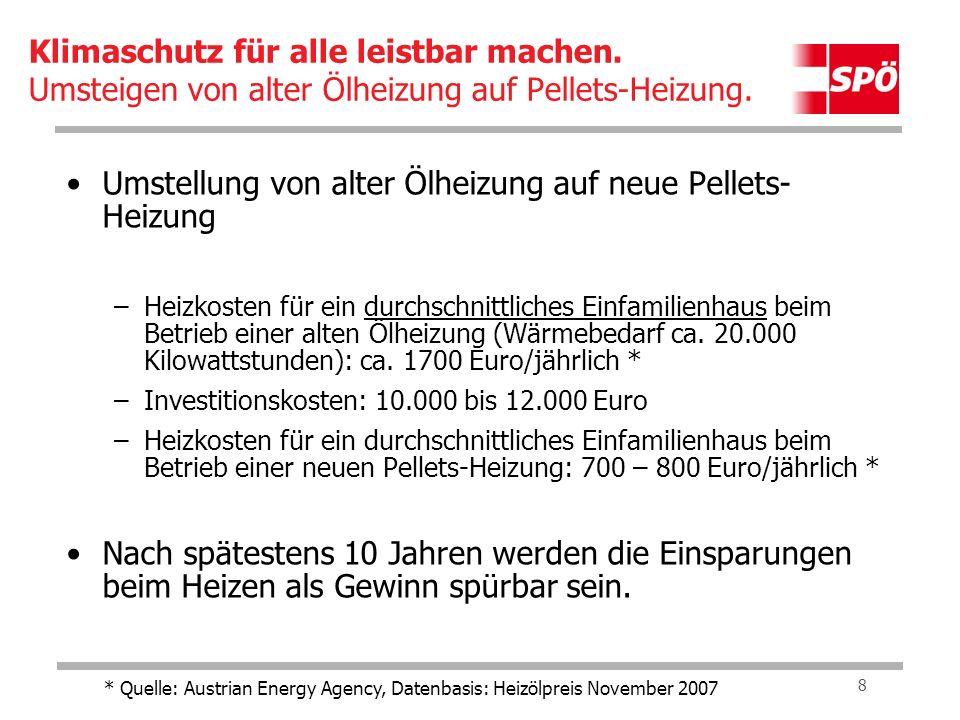 9 Umstellung von alter Ölheizung auf neue Pellets- Heizung –Heizkosten für eine durchschnittliche Wohnung beim Betrieb einer alten Ölheizung (Wärmebedarf ca.
