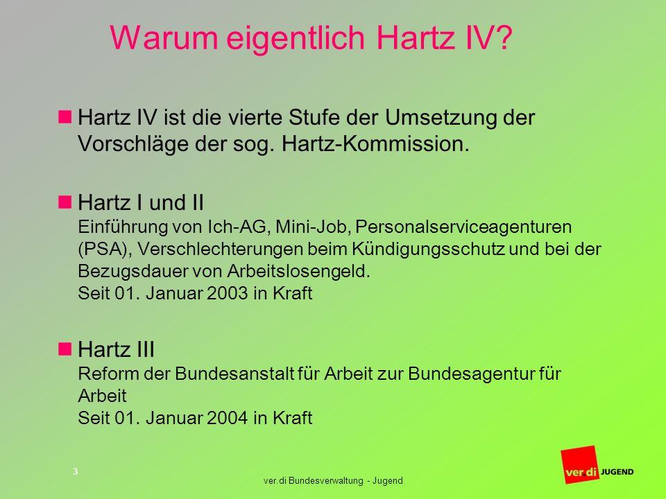 ver.di Bundesverwaltung - Jugend 3 Warum eigentlich Hartz IV? Hartz IV ist die vierte Stufe der Umsetzung der Vorschläge der sog. Hartz-Kommission. Ha