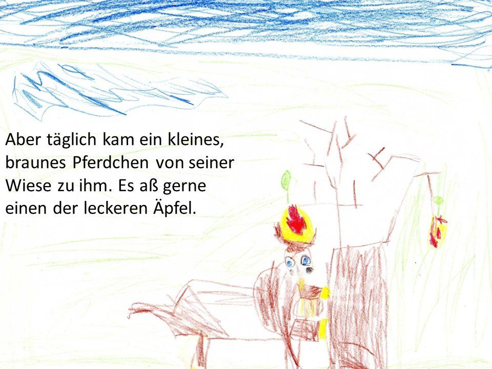 Eines Tages kam das Pferd zum Apfelbaum.Es freute sich schon auf die neuen Äpfel.