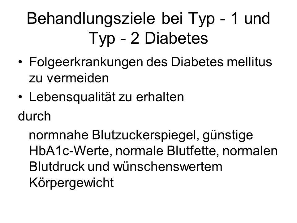 Behandlungsziele bei Typ - 1 und Typ - 2 Diabetes Folgeerkrankungen des Diabetes mellitus zu vermeiden Lebensqualität zu erhalten durch normnahe Blutz