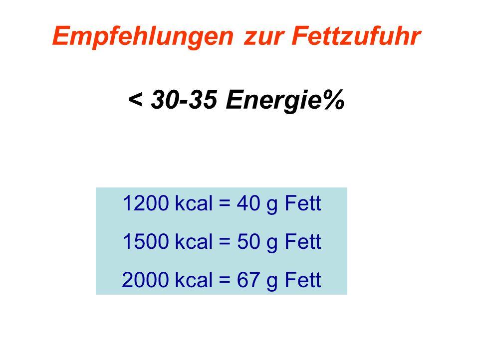 Empfehlungen zur Fettzufuhr < 30-35 Energie% 1200 kcal = 40 g Fett 1500 kcal = 50 g Fett 2000 kcal = 67 g Fett