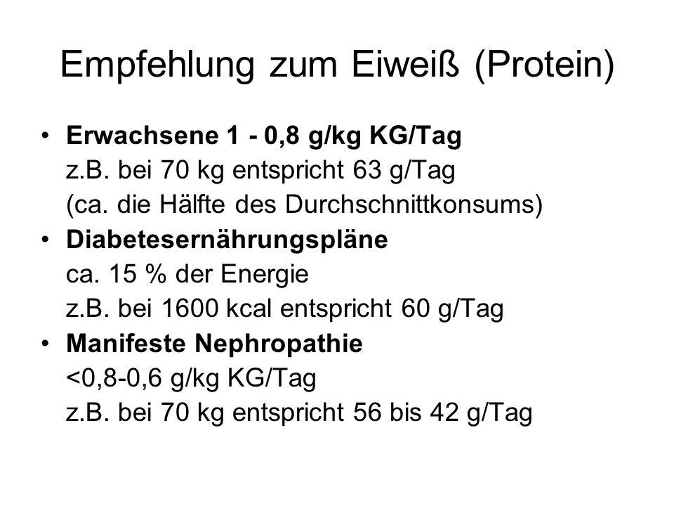 Empfehlung zum Eiweiß (Protein) Erwachsene 1 - 0,8 g/kg KG/Tag z.B. bei 70 kg entspricht 63 g/Tag (ca. die Hälfte des Durchschnittkonsums) Diabetesern