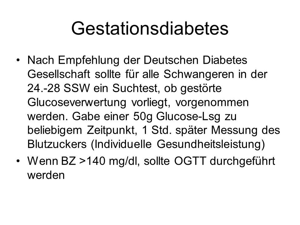 Gestationsdiabetes Nach Empfehlung der Deutschen Diabetes Gesellschaft sollte für alle Schwangeren in der 24.-28 SSW ein Suchtest, ob gestörte Glucose