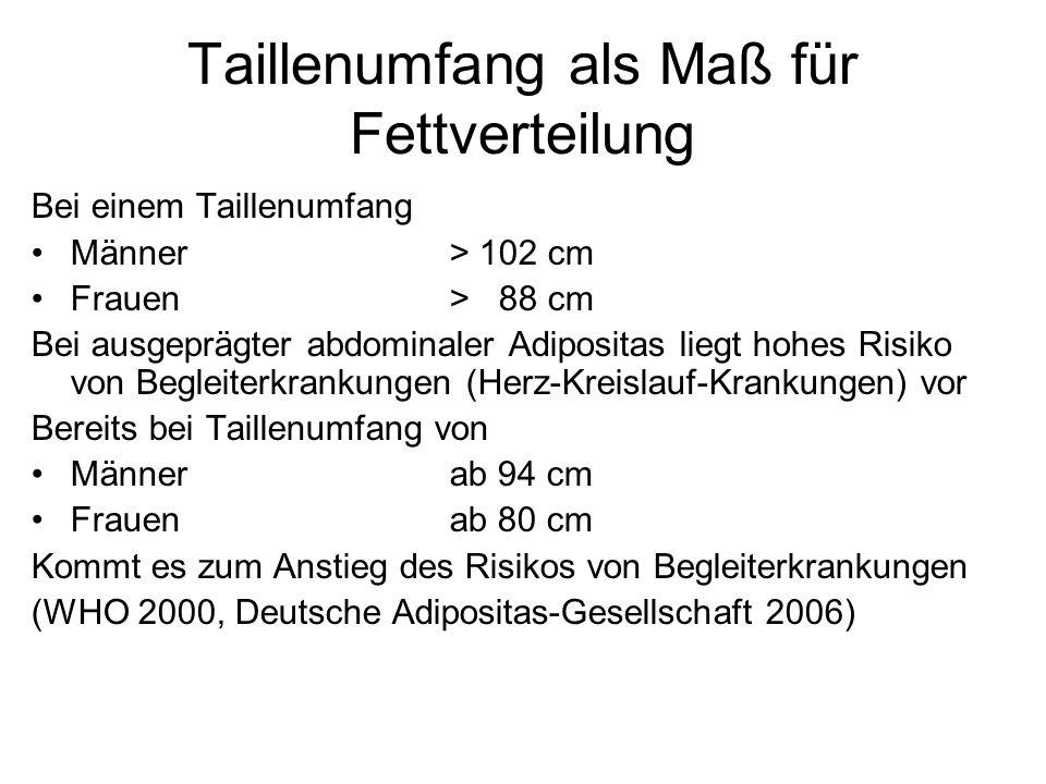 Taillenumfang als Maß für Fettverteilung Bei einem Taillenumfang Männer> 102 cm Frauen> 88 cm Bei ausgeprägter abdominaler Adipositas liegt hohes Risi