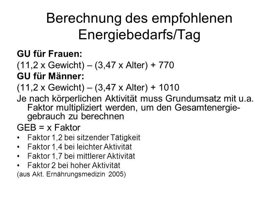 Berechnung des empfohlenen Energiebedarfs/Tag GU für Frauen: (11,2 x Gewicht) – (3,47 x Alter) + 770 GU für Männer: (11,2 x Gewicht) – (3,47 x Alter)