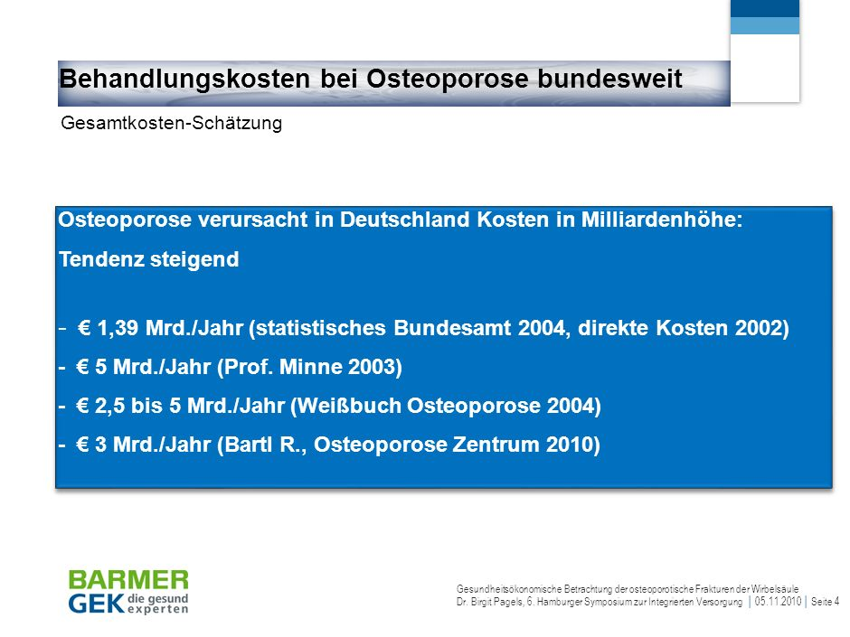 Gesundheitsökonomische Betrachtung der osteoporotische Frakturen der Wirbelsäule Dr.