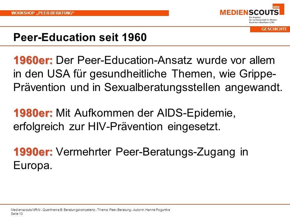 Medienscouts NRW - Querthema B: Beratungskompetenz - Thema: Peer-Beratung - Autorin: Hanne Poguntke Seite 13 WORKSHOP PEER-BERATUNG Peer-Education seit 1960 1960er: 1960er: Der Peer-Education-Ansatz wurde vor allem in den USA für gesundheitliche Themen, wie Grippe- Prävention und in Sexualberatungsstellen angewandt.