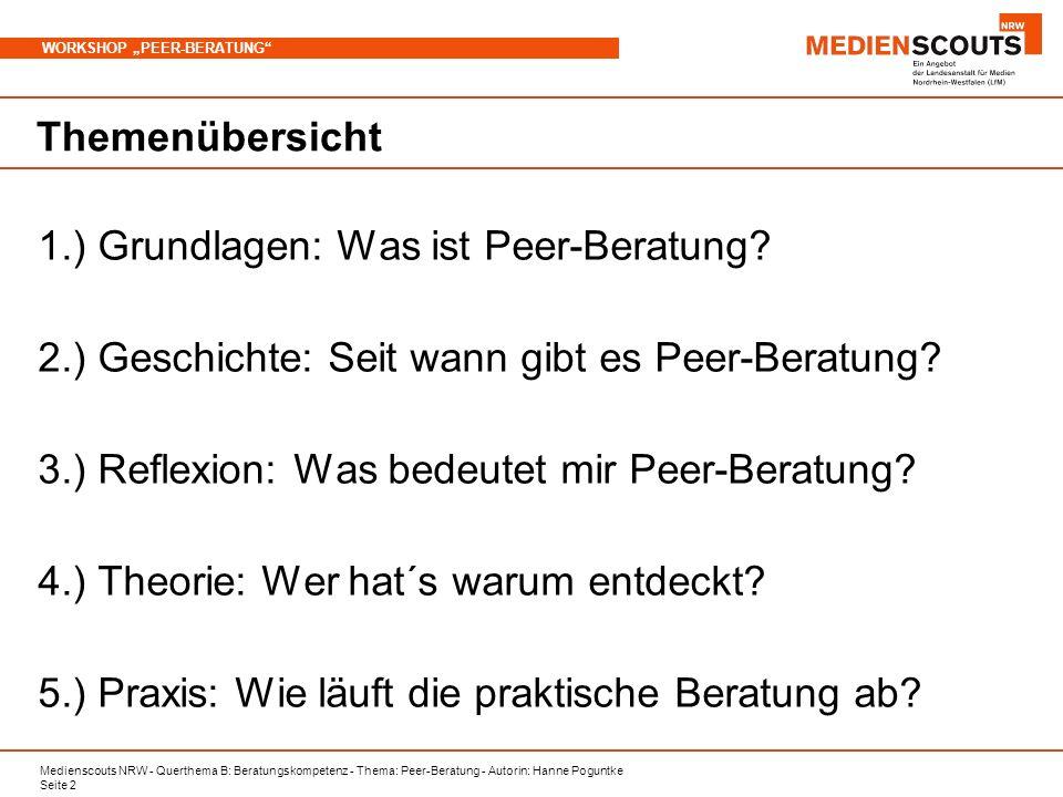 Medienscouts NRW - Querthema B: Beratungskompetenz - Thema: Peer-Beratung - Autorin: Hanne Poguntke Seite 2 WORKSHOP PEER-BERATUNG Themenübersicht 1.) Grundlagen: Was ist Peer-Beratung.