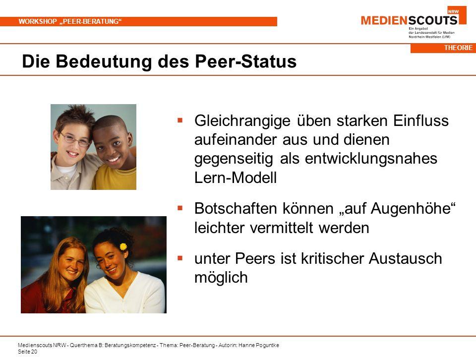 Medienscouts NRW - Querthema B: Beratungskompetenz - Thema: Peer-Beratung - Autorin: Hanne Poguntke Seite 20 WORKSHOP PEER-BERATUNG Die Bedeutung des